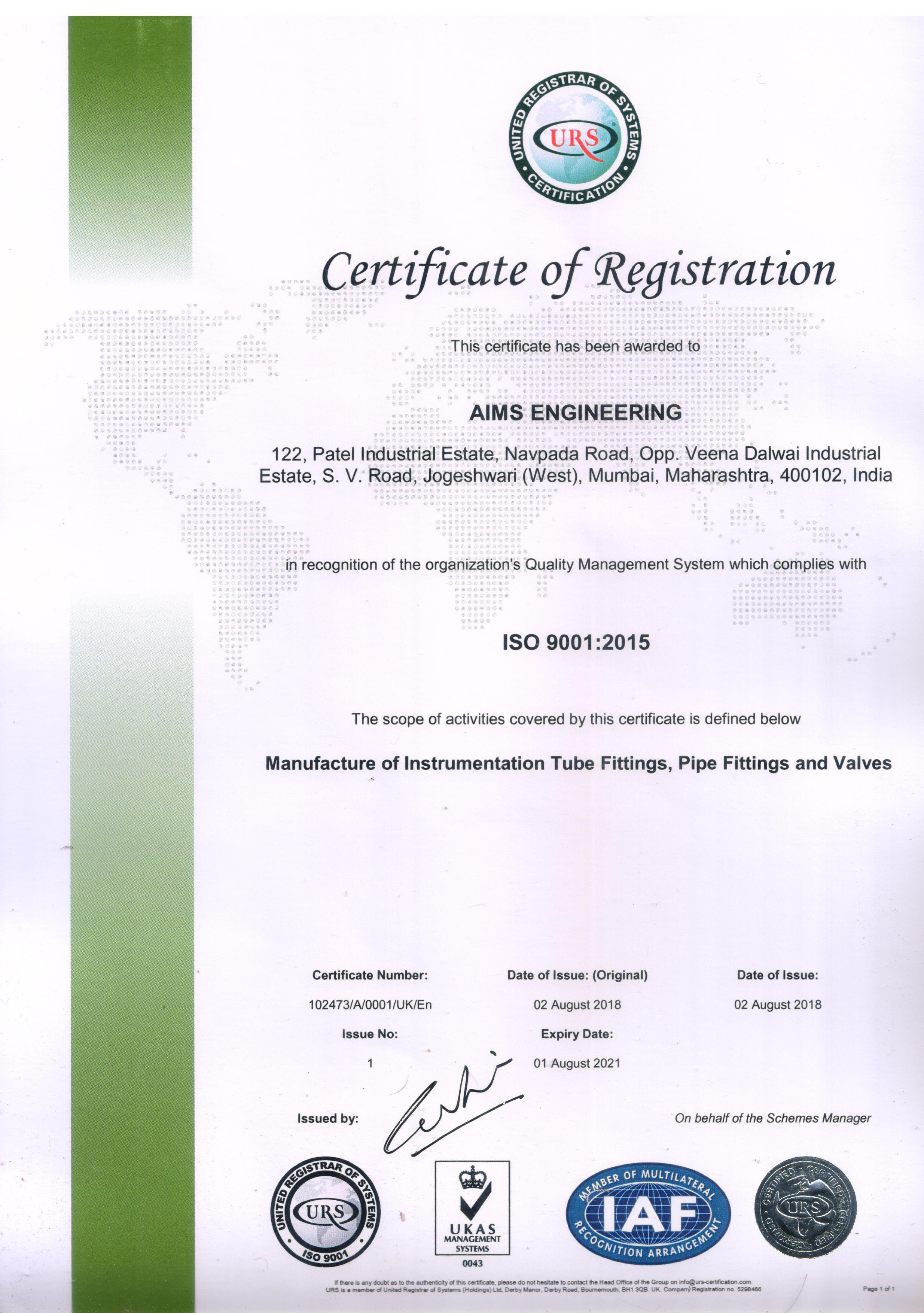 Certification Aims Engineering
